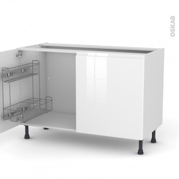 IPOMA Blanc - Meuble sous-évier - 2 portes lessiviel - L120xH70xP58