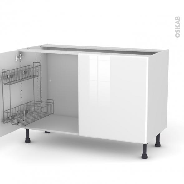 IRIS Blanc - Meuble sous-évier - 2 portes lessiviel - L120xH70xP58