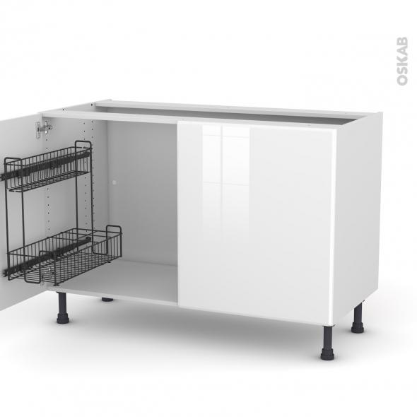 Meuble de cuisine - Sous évier - IRIS Blanc - 2 portes lessiviel - L120 x H70 x P58 cm