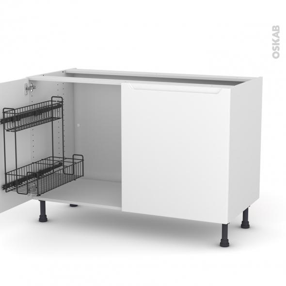 Meuble de cuisine - Sous évier - PIMA Blanc - 2 portes lessiviel - L120 x H70 x P58 cm