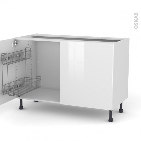 STECIA Blanc - Meuble sous-évier - 2 portes lessiviel - L120xH70xP58