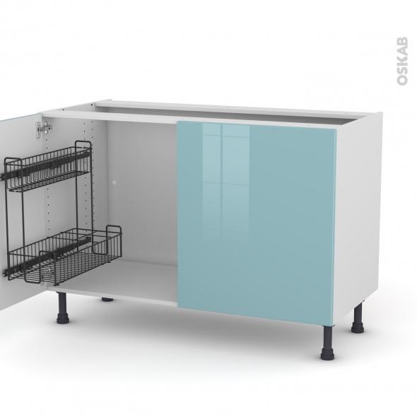 Meuble de cuisine - Sous évier - KERIA Bleu - 2 portes lessiviel - L120 x H70 x P58 cm