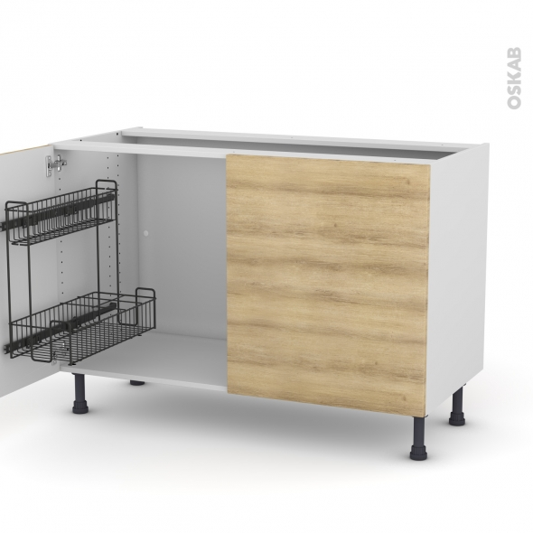 Meuble de cuisine - Sous évier - HOSTA Chêne naturel - 2 portes lessiviel - L120 x H70 x P58 cm