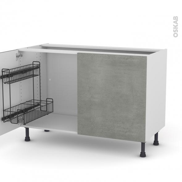 Meuble de cuisine - Sous évier - FAKTO Béton - 2 portes lessiviel - L120 x H70 x P58 cm