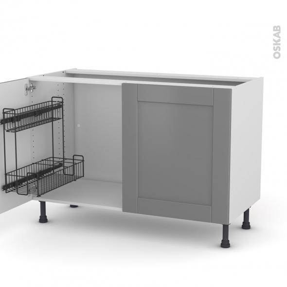 Meuble de cuisine - Sous évier - FILIPEN Gris - 2 portes lessiviel - L120 x H70 x P58 cm