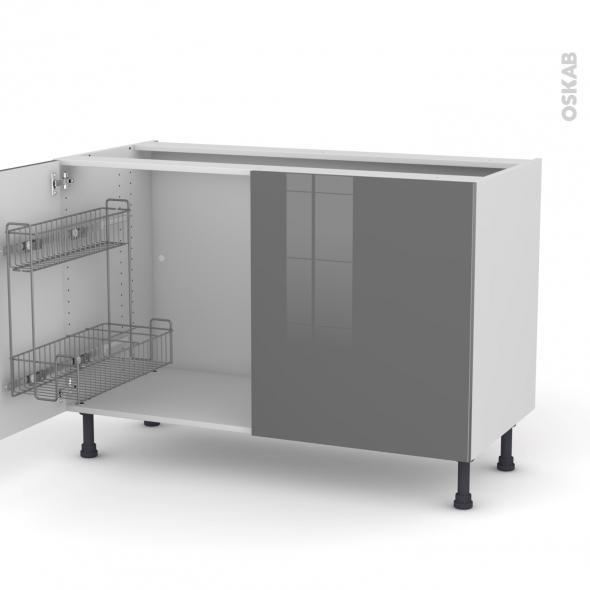 STECIA Gris - Meuble sous-évier - 2 portes lessiviel - L120xH70xP58