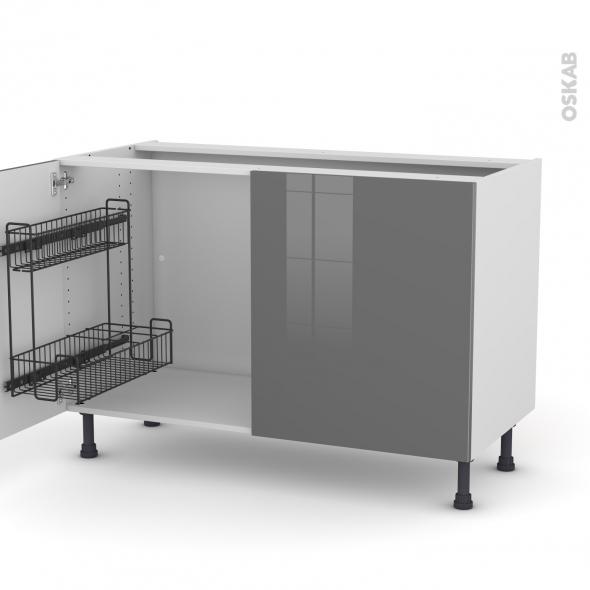 Meuble de cuisine - Sous évier - STECIA Gris - 2 portes lessiviel - L120 x H70 x P58 cm