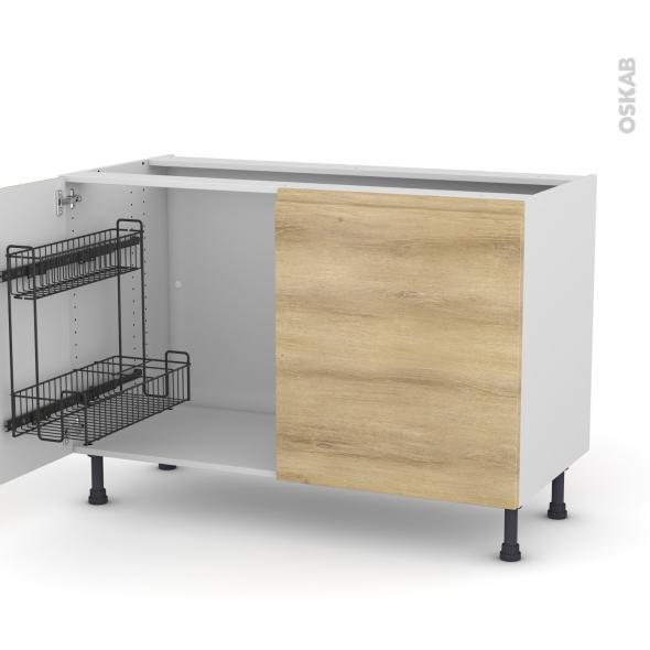 Meuble de cuisine - Sous évier - IPOMA Chêne naturel - 2 portes lessiviel - L120 x H70 x P58 cm
