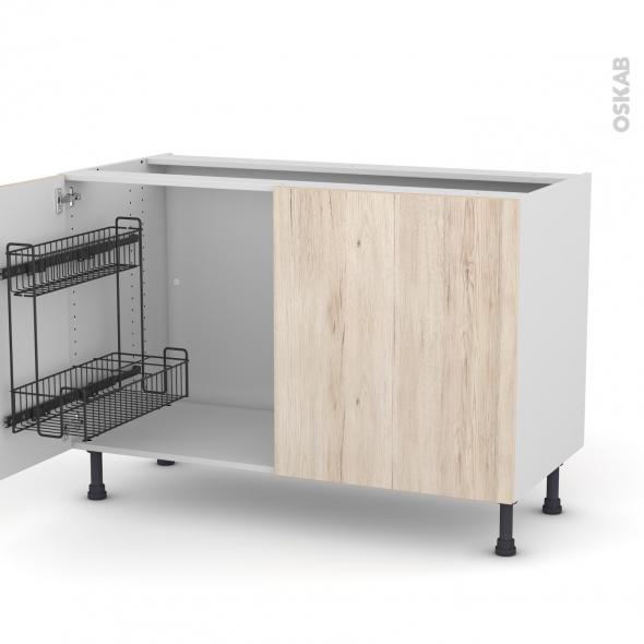 Meuble de cuisine - Sous évier - IKORO Chêne clair - 2 portes lessiviel - L120 x H70 x P58 cm