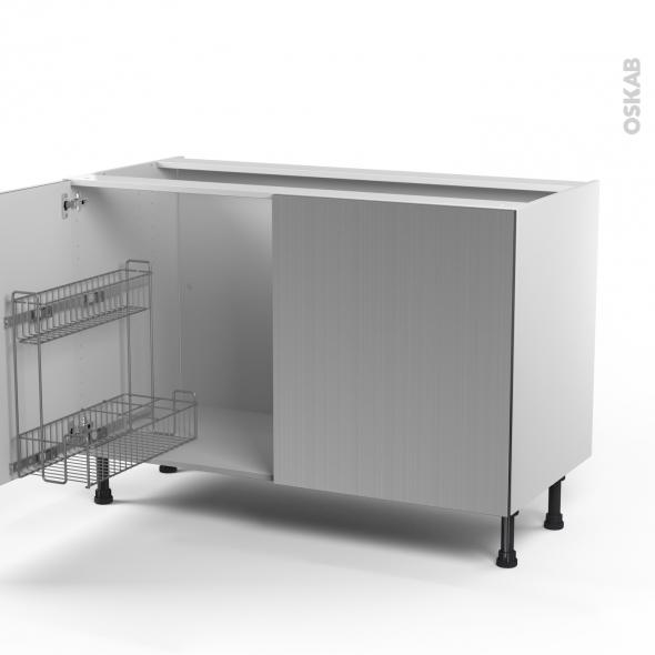 STILO Inox - Meuble sous-évier - 2 portes lessiviel - L120xH70xP58