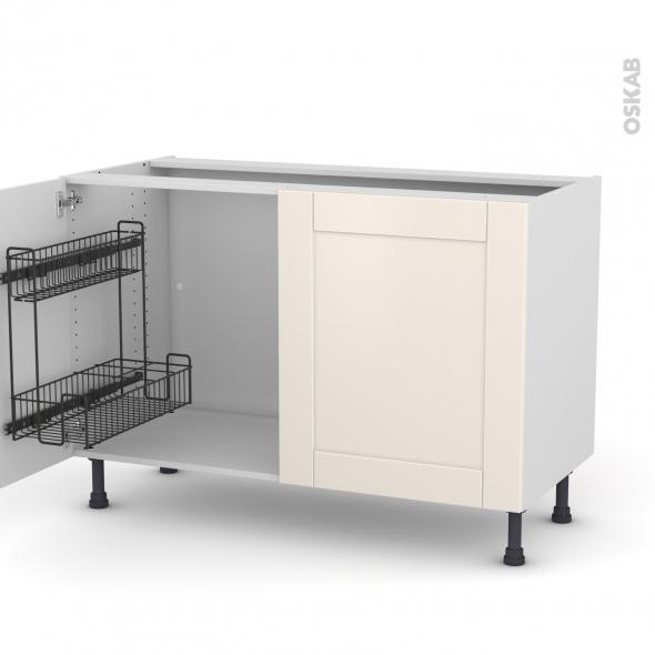 Meuble de cuisine - Sous évier - FILIPEN Ivoire - 2 portes lessiviel - L120 x H70 x P58 cm