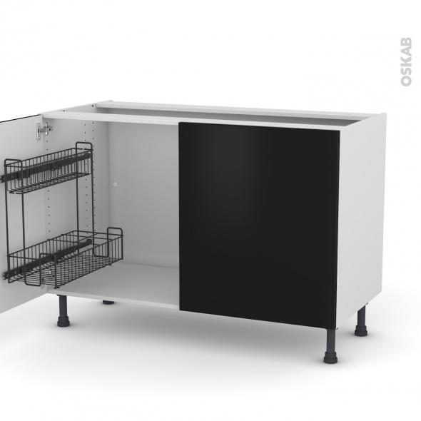 Meuble de cuisine - Sous évier - GINKO Noir - 2 portes lessiviel - L120 x H70 x P58 cm