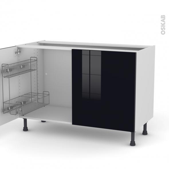 KERIA Noir - Meuble sous-évier - 2 portes lessiviel - L120xH70xP58