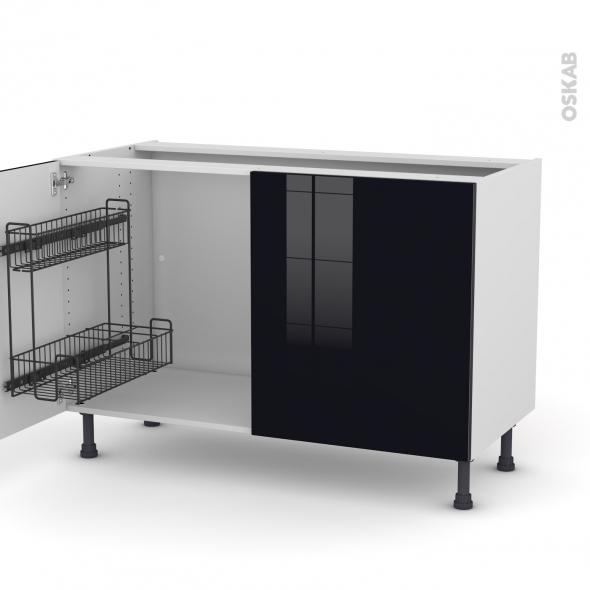 Meuble de cuisine - Sous évier - KERIA Noir - 2 portes lessiviel - L120 x H70 x P58 cm