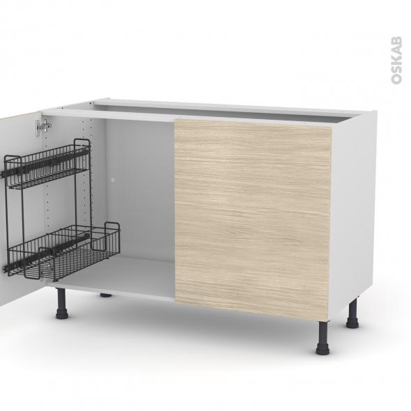 Meuble de cuisine - Sous évier - STILO Noyer Blanchi - 2 portes lessiviel - L120 x H70 x P58 cm