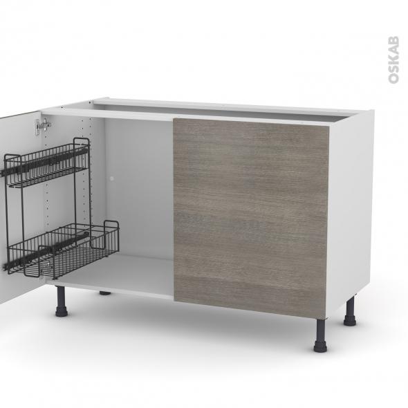 Meuble de cuisine - Sous évier - STILO Noyer Naturel - 2 portes lessiviel - L120 x H70 x P58 cm