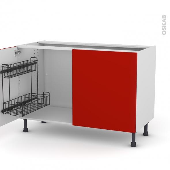 GINKO Rouge - Meuble sous-évier - 2 portes lessiviel - L120xH70xP58