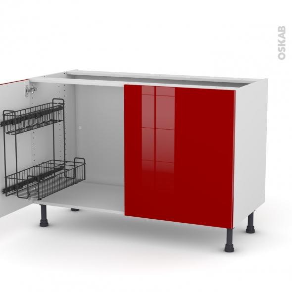 Meuble de cuisine - Sous évier - STECIA Rouge - 2 portes lessiviel - L120 x H70 x P58 cm