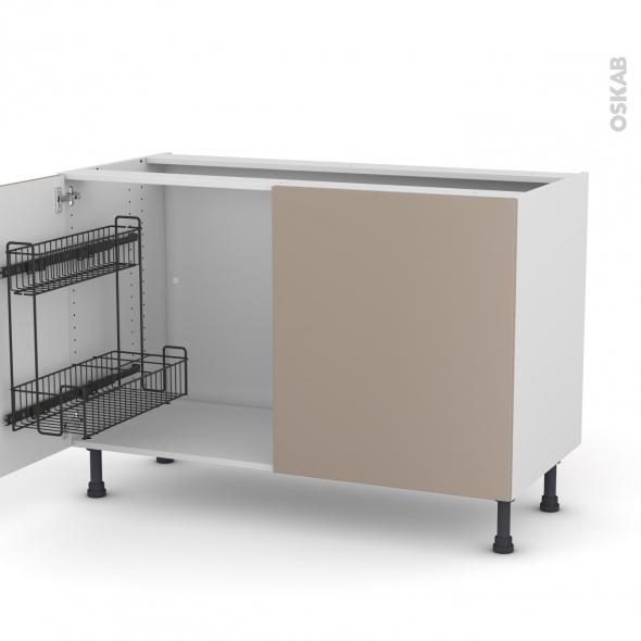Meuble de cuisine - Sous évier - GINKO Taupe - 2 portes lessiviel - L120 x H70 x P58 cm