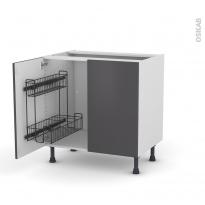 Meuble de cuisine - Sous évier - GINKO Gris - 2 portes lessiviel - L80 x H70 x P58 cm