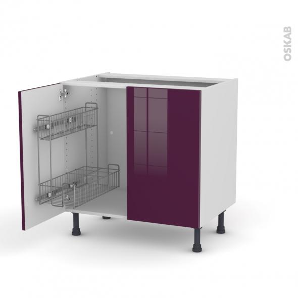 KERIA Aubergine - Meuble sous-évier - 2 portes lessiviel - L80xH70xP58