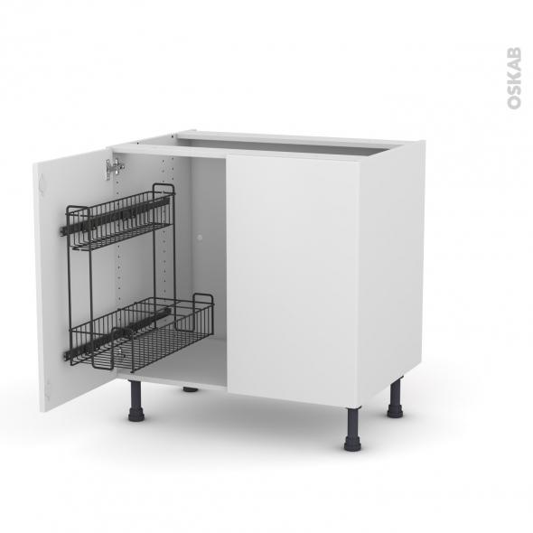 GINKO Blanc - Meuble sous-évier - 2 portes lessiviel - L80xH70xP58