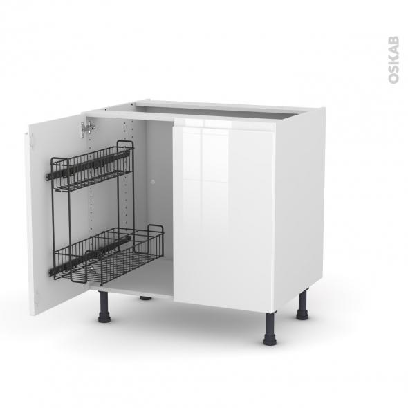 Meuble de cuisine - Sous évier - IPOMA Blanc - 2 portes lessiviel - L80 x H70 x P58 cm