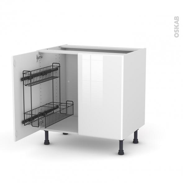 Meuble de cuisine - Sous évier - IRIS Blanc - 2 portes lessiviel - L80 x H70 x P58 cm