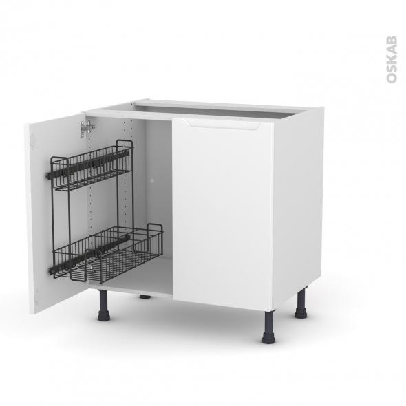 Meuble de cuisine - Sous évier - PIMA Blanc - 2 portes lessiviel - L80 x H70 x P58 cm