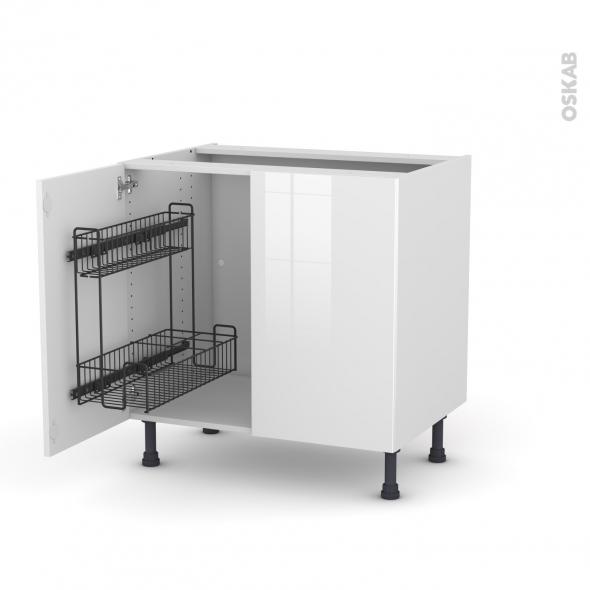 Meuble de cuisine - Sous évier - STECIA Blanc - 2 portes lessiviel - L80 x H70 x P58 cm