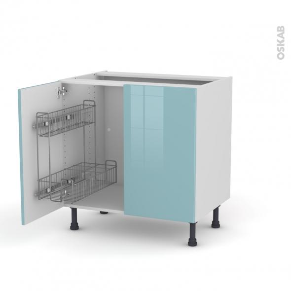 KERIA Bleu - Meuble sous-évier - 2 portes lessiviel - L80xH70xP58