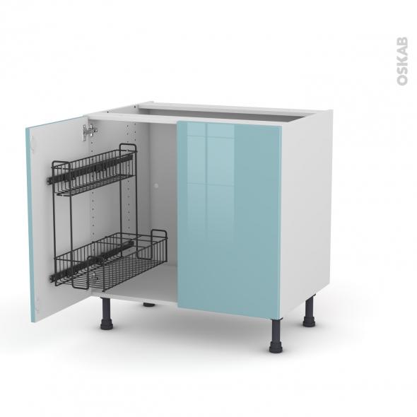 Meuble de cuisine - Sous évier - KERIA Bleu - 2 portes lessiviel - L80 x H70 x P58 cm