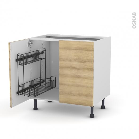 Meuble de cuisine - Sous évier - HOSTA Chêne naturel - 2 portes lessiviel - L80 x H70 x P58 cm