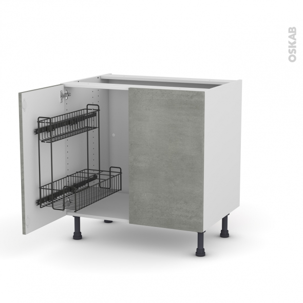 Meuble de cuisine - Sous évier - FAKTO Béton - 2 portes lessiviel - L80 x H70 x P58 cm