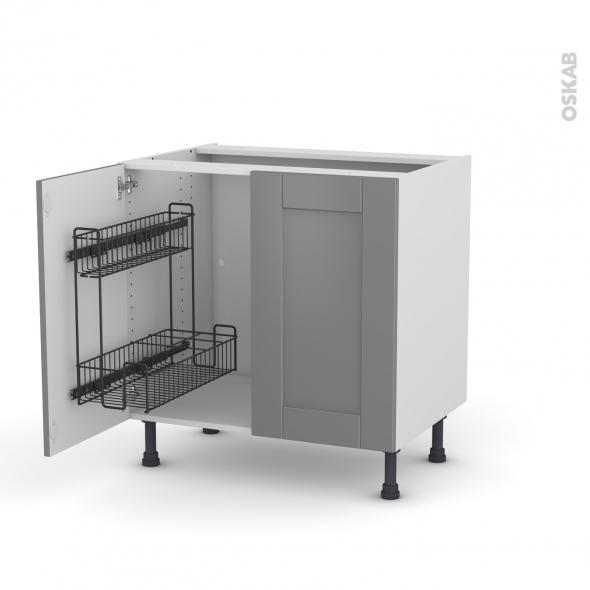 Meuble de cuisine - Sous évier - FILIPEN Gris - 2 portes lessiviel - L80 x H70 x P58 cm