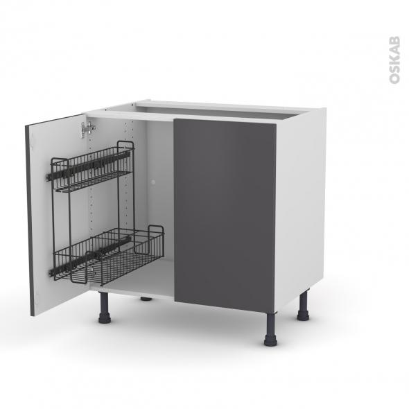 GINKO Gris - Meuble sous-évier - 2 portes lessiviel - L80xH70xP58