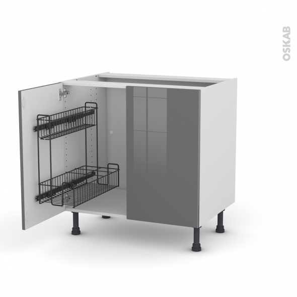 Meuble de cuisine - Sous évier - STECIA Gris - 2 portes lessiviel - L80 x H70 x P58 cm