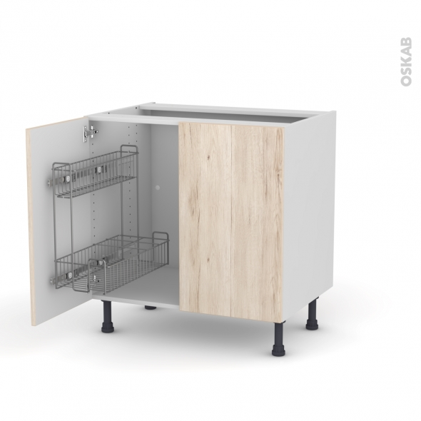 IKORO Chêne clair - Meuble sous-évier - 2 portes lessiviel - L80xH70xP58