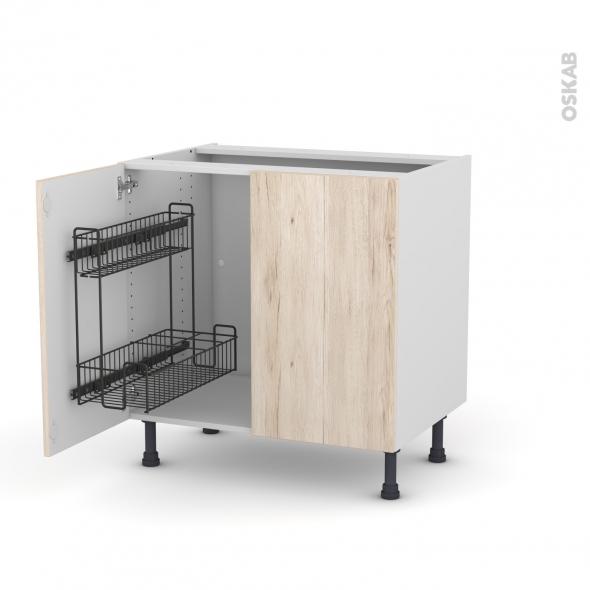 Meuble de cuisine - Sous évier - IKORO Chêne clair - 2 portes lessiviel - L80 x H70 x P58 cm