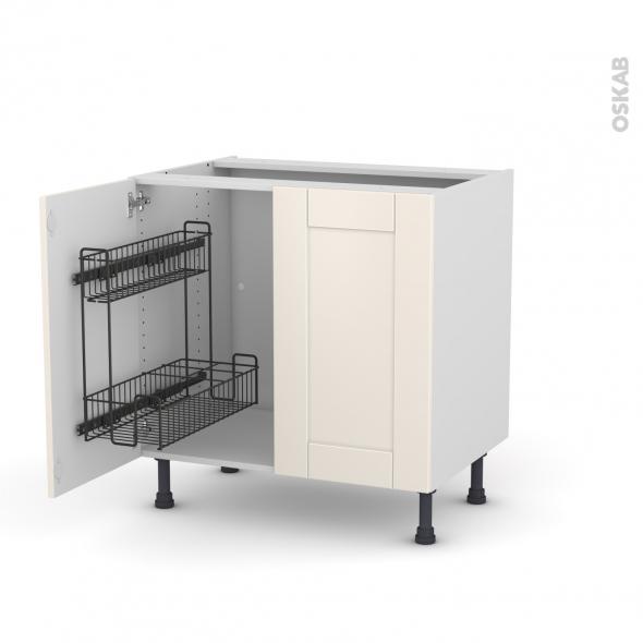 Meuble de cuisine - Sous évier - FILIPEN Ivoire - 2 portes lessiviel - L80 x H70 x P58 cm