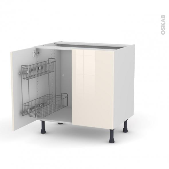 KERIA Ivoire - Meuble sous-évier - 2 portes lessiviel - L80xH70xP58