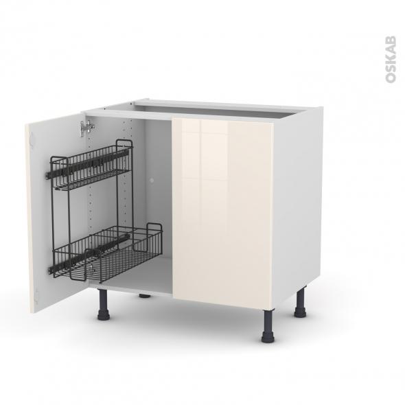 Meuble de cuisine - Sous évier - KERIA Ivoire - 2 portes lessiviel - L80 x H70 x P58 cm