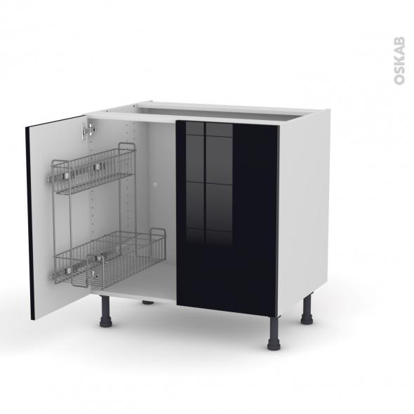 KERIA Noir - Meuble sous-évier - 2 portes lessiviel - L80xH70xP58