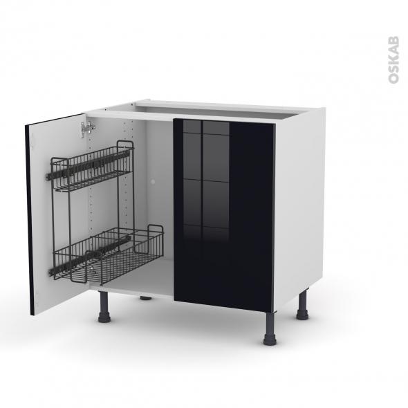Meuble de cuisine - Sous évier - KERIA Noir - 2 portes lessiviel - L80 x H70 x P58 cm