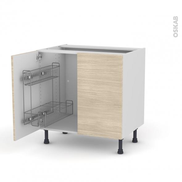 STILO Noyer Blanchi - Meuble sous-évier - 2 portes lessiviel - L80xH70xP58