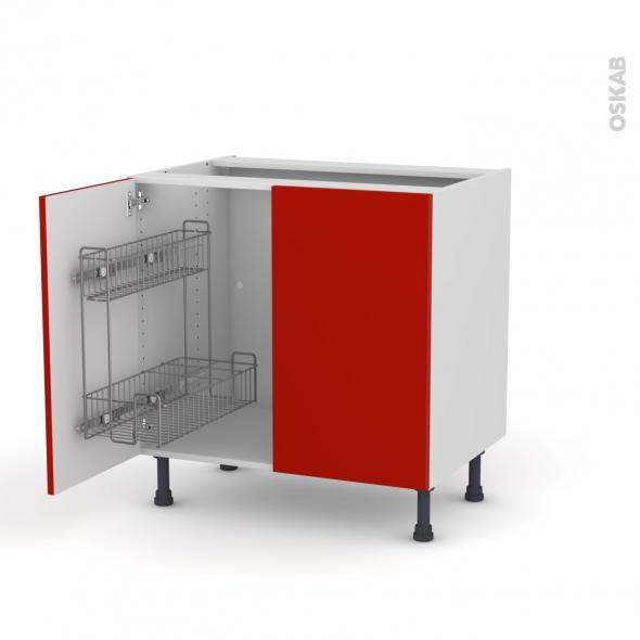 GINKO Rouge - Meuble sous-évier - 2 portes lessiviel - L80xH70xP58