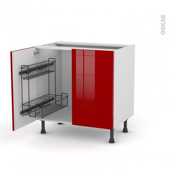 Meuble de cuisine - Sous évier - STECIA Rouge - 2 portes lessiviel - L80 x H70 x P58 cm