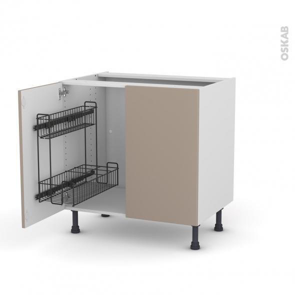 Meuble de cuisine - Sous évier - GINKO Taupe - 2 portes lessiviel - L80 x H70 x P58 cm