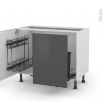 Meuble de cuisine - Sous évier - GINKO Gris - 2 portes lessiviel-poubelle coulissante  - L100 x H70 x P58 cm