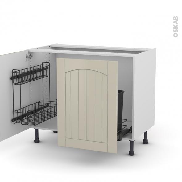 SILEN Argile - Meuble sous-évier - 2 portes lessiviel-poubelle coulissante - L100xH70xP58